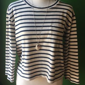 Madewell Striped Crop Shirt